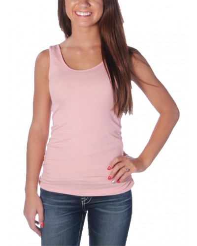 Ribbed Double Scoop Tank in Dust Pink by Zenana