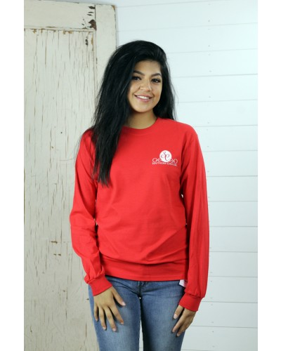 L/S Classic Merry and Bright Tee in Red by Couture Tee