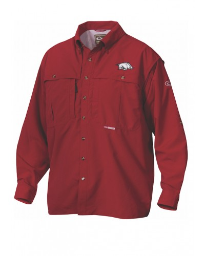 L/S AR Cotton Wingshooter Shirt in Cardinal by Drake