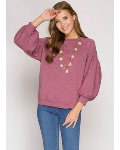 Long Sleeve Balloon Top in Mauve