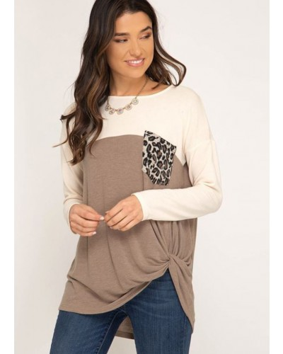 L/S Color Blocked Top with Leopard Print Pockets in Taupe