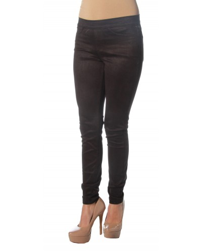 Pull Up Suede Jeggings in Black by Sneak Peak