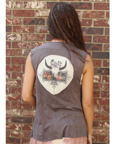 Suede Jane Vest in Grey by Boho Jane