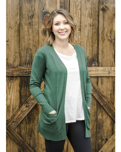 Open Long Cardigan in Olive