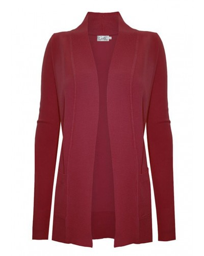 Open Front Cardigan with Pockets in Red