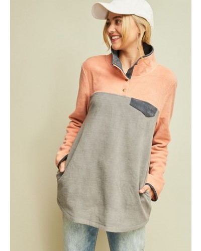 Color Block Sweater in Grey