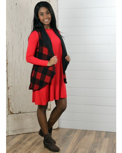 Sleeveless Plaid Front Vest in Red by Twenty Seconc