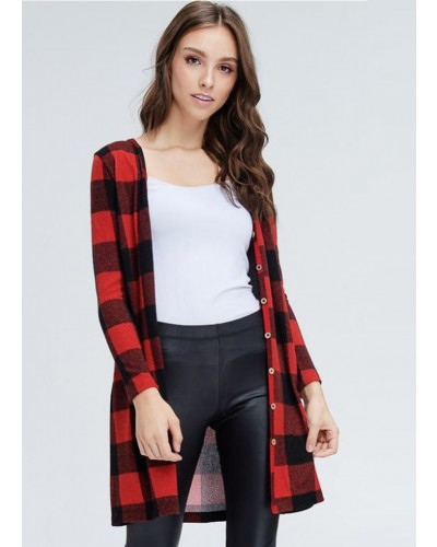 L/S Plaid Open Front Cardigan in Red by White Birch
