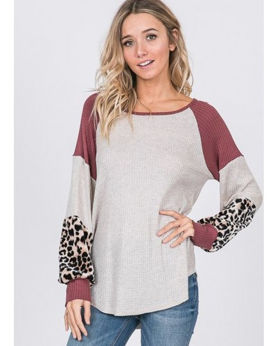 Bishop Sleeve Color Block Top in Oatmeal/Brick