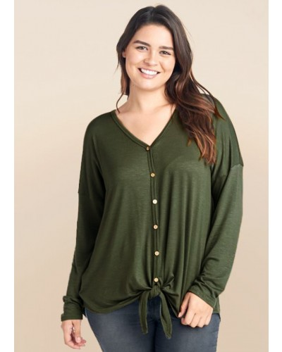 Plus L/S Tied Front w/Wooden Buttons in Olive by Reborn J The Plus