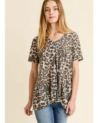 S/S V Neck Leopard Pleated Top in Taupe