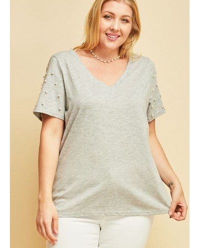 Plus V Neck Tee with Pearls in Heather Grey