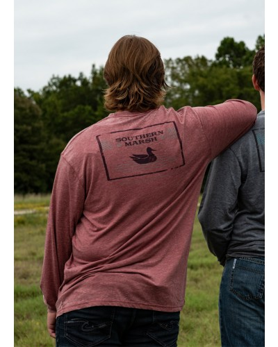 L/S Pond Seawash Tee in Crimson by Southern Marsh