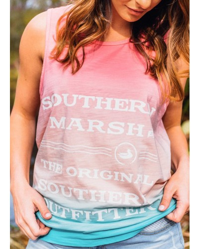 Summer Sun Tank in Peach/Teal by Southern Marsh