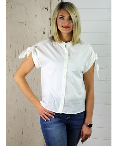 Collarless Tie Top in Off White by Ellison