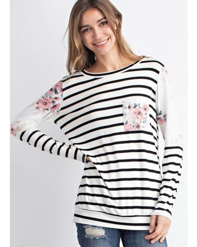 Long Contrast Sleeve Striped Floral Top in Ivory/Black