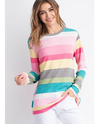 L/S Multi Color Striped Top in Pink/Teal