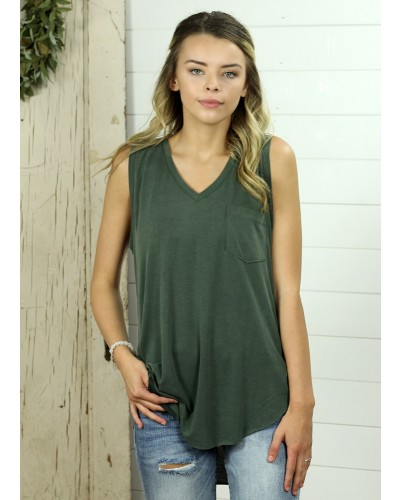 Esther V Neck Tank in Hunter Green by Another Love
