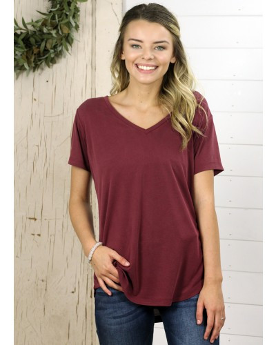 S/S Valentina Tee in Bordeaux by Another Love