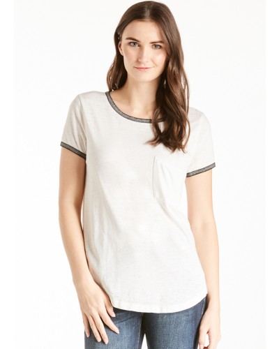 Gia Ringer Tee with Contrast Pocket in White/Black by Another Love