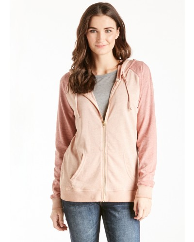 Ingrid Color Block Hoody in Dusty Mauve Dark by Another Love