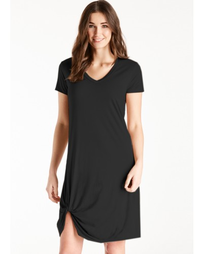 S/S V Neck Side Knot Dress in Black by Another Love