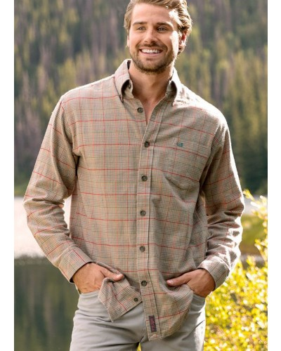 Madison Houndstooth Flannel in Slate/Tan by Southern Marsh