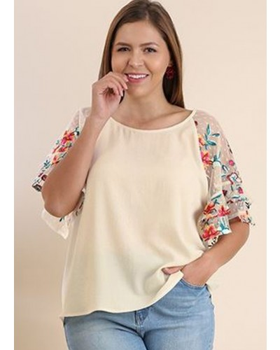 Wide Neck Top with Ruffled Sleeve in Natural