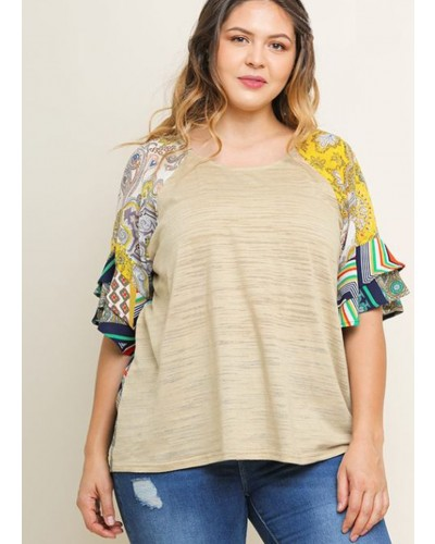Plus Printed Layered S/S Top in Latte Mix by Umgee