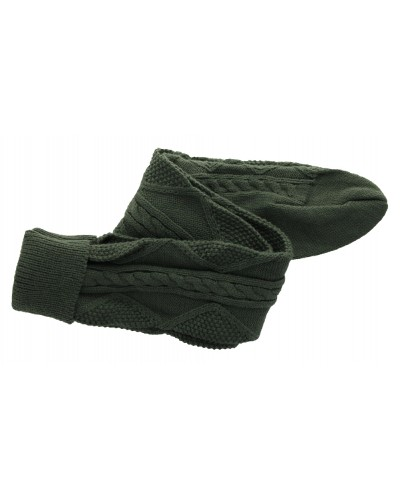 Cozette Cable Knit Sock in Army Green by Peek A Boot