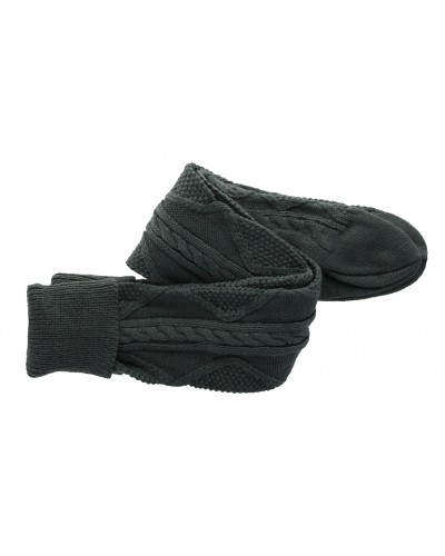 Cozette Cable Knit Sock in Charcoal by Peek A Boot