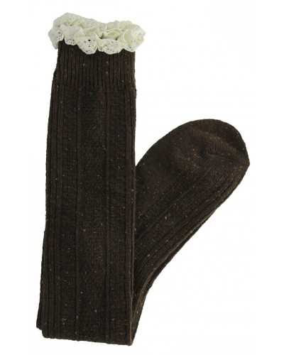 Felicity Cable Knit Sock in Chocolate by Peek A Boot