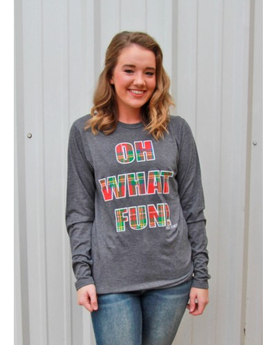 ''Oh What Fun'' L/S Tee in Grey by Prickly Pear TX