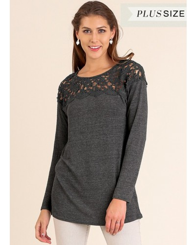 Plus- L/S Tunic w/Floral Crochet Yoke in Charcoal by Umgee