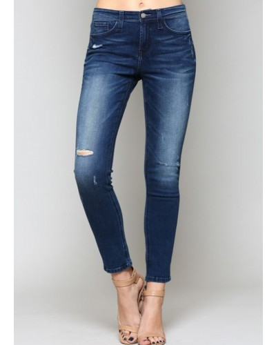 High Rise Distress Skinny Jeans in Supreme by Flying Monkey
