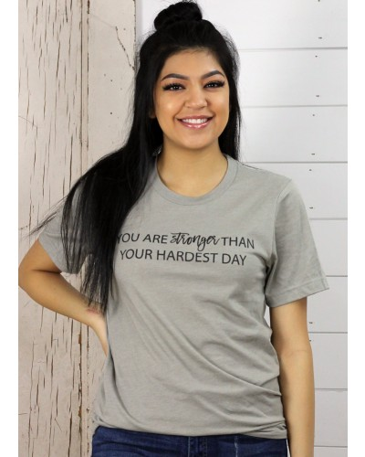 S/S You Are Stronger Tee in Light Grey by Truelove
