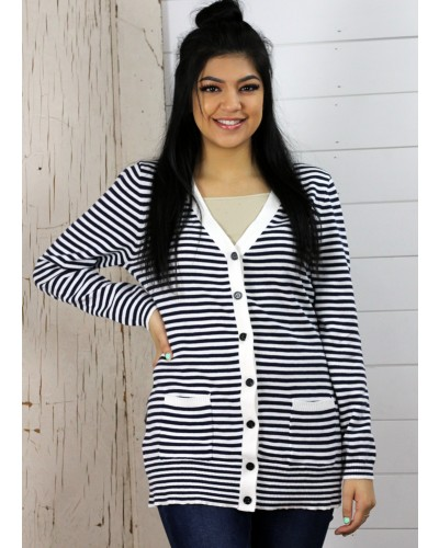 Color Way Striped Button Down Cardigan in Black