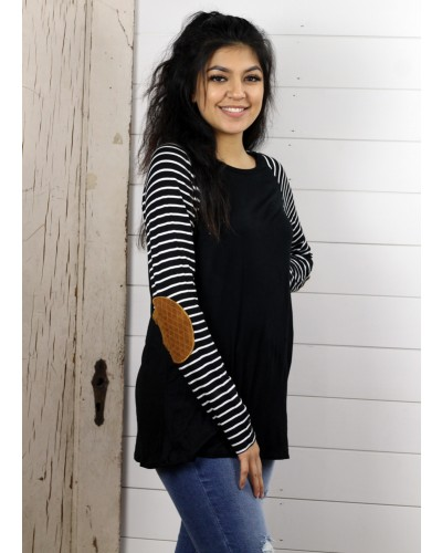 Striped Sleeve w/Elbow Patch Casual Tops in Black/Black