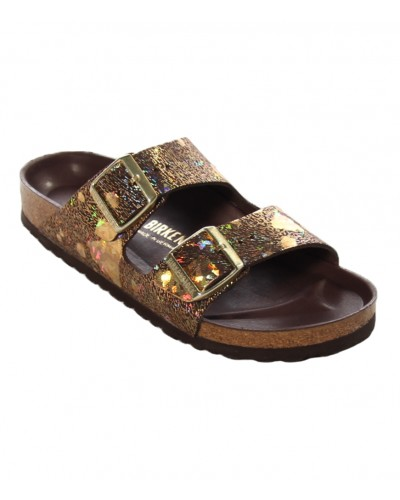 Arizona Lux in Spotted Metallic Brown Leather Narrow Width by Birkenstock