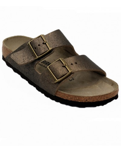 Arizona in Washed Metallic Antique Gold Leather Narrow Width by Birkenstock