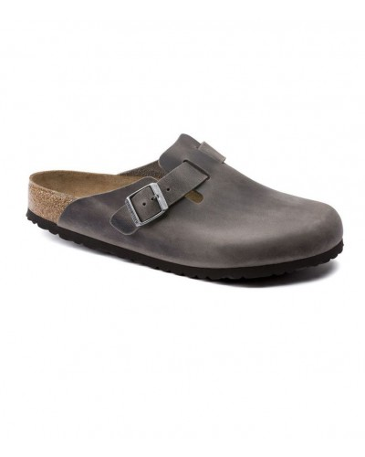 Boston Soft Footbed in Iron Oiled Leather Regular Width by Birkenstock