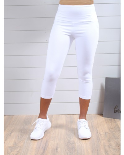 High Rise Control Top Cotton Capri Legging in White by Lysse