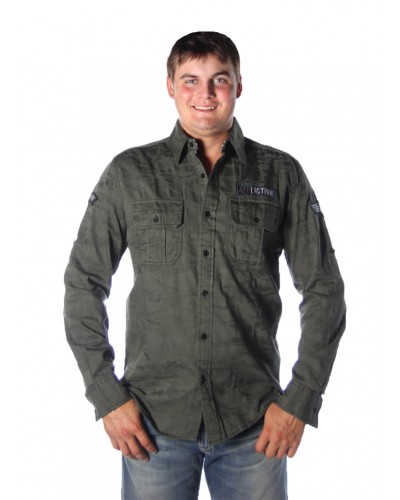 Top Notch L/S Button Up Woven Shirt in Olive by Affliction
