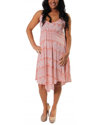 Paisley Stripe ineven Hem Dress in Peach by Vintage Havana