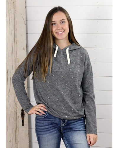 Pullover Hoodie with Pearl Details in Dark Grey Mix by Dex