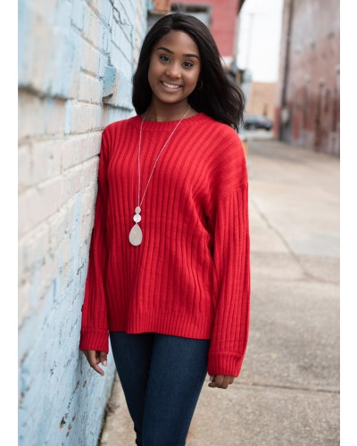 Ribbed Sweater in Red by Very J