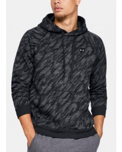 Rival Fleece Camo Hoodie in Black by Under Armour