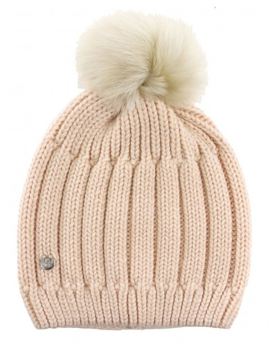 Solid Ribbed Beanie w/Toscana Pom in Freshwater Pearl by Ugg
