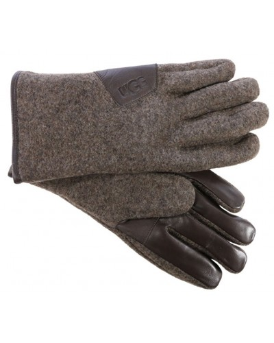 Fabric Smart Gloves w/Leather Trim in Grizzly by Ugg