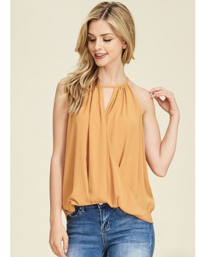 Twisted Wrap Front Blouse in Spaghetti Strap, in Honey Gold by Staccato